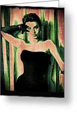 Sophia Loren - Green Pop Art Greeting Card by Absinthe Art By Michelle LeAnn Scott