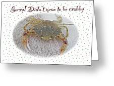 Sorry I Was Crabby Greeting Card - Calico Crab Greeting Card