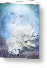Soul Mates - White Wolves Greeting Card
