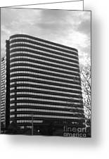 Soutfield Round Hi Rise Black And White Greeting Card by Bill Woodstock