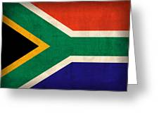 South Africa Flag Vintage Distressed Finish Greeting Card