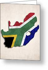 South Africa Map Art With Flag Design Greeting Card