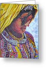 South American Woman Greeting Card by Linda Vaughon