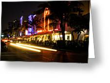 South Beach After Dark Greeting Card