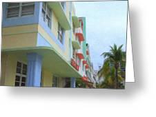 South Beach Facades Greeting Card