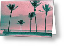 South Beach Miami Tropical Art Deco Five Palms Greeting Card