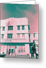 South Beach Miami Leslie Tropical Art Deco Hotel Greeting Card