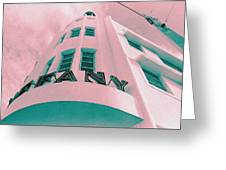 South Beach Miami Tiffany Hotel Tropical Art Deco Greeting Card