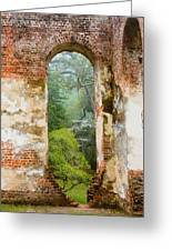South Carolina Historic Church Photo Sheldon Ruins-- Another View From The Inside Greeting Card