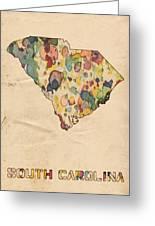 South Carolina Map Vintage Watercolor Greeting Card