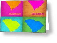 South Carolina Pop Art Map 1 Greeting Card