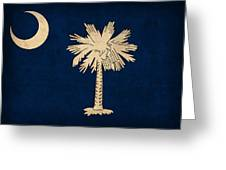 South Carolina State Flag Art On Worn Canvas Greeting Card