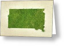 South Dakota Grass Map Greeting Card by Aged Pixel