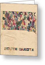 South Dakota Map Vintage Watercolor Greeting Card