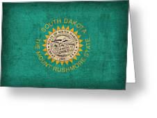 South Dakota State Flag Art On Worn Canvas Greeting Card