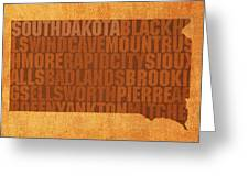 South Dakota Word Art State Map On Canvas Greeting Card