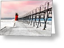 South Haven Light And Pier Greeting Card
