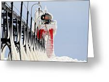 South Haven Lighthouse Frozen Ice Castle Greeting Card