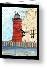 South Haven Lighthouse Mi Nautical Chart Map Art Cathy Peek Greeting Card