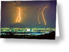 South Mountain Lightning Strike Phoenix Az Greeting Card