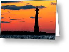 South Pier Light At Night Greeting Card