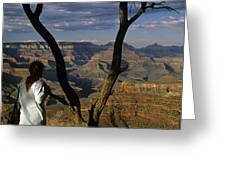 South Rim Grand Canyon Sunset Light On Rock Formations With Woma Greeting Card