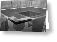 South Tower Pool In Black And White Greeting Card