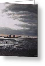 Southampton Docks From Weston Shore Winter Sunset Greeting Card