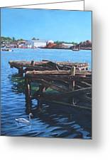 Southampton Northam River Itchen Old Jetty With Sea Birds Greeting Card