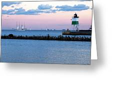 Southeast Guidewall Lighthouse At Sunset And Tall Ship Windy Greeting Card