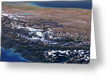 Southern Alps, New Zealand, 3d Artwork Greeting Card