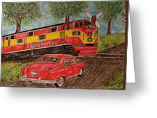 Southern Pacific Train 1951 Kaiser Frazer Car Rr Crossing Greeting Card