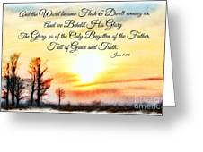 Southern Sunset - Digital Paint II With Verse Greeting Card by Debbie Portwood