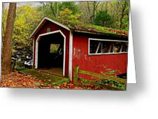 Southford Falls Covered Bridge And Waterfall Greeting Card