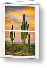 Southwest Desert Sunset White Rustic Distressed Window Art Greeting Card