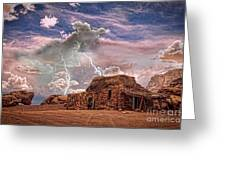 Southwest Navajo Rock House And Lightning Strikes Hdr Greeting Card