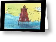 Southwest Reef Lighthouse La Nautical Chart Map Art Cathy Peek Greeting Card