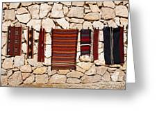 Souvenir Rugs For Sale At Wadi Mujib Jordan Greeting Card by Robert Preston
