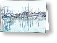Soveriegn Harbor In Pencil Greeting Card