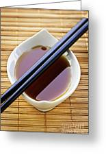Soy Sauce With Chopsticks Greeting Card