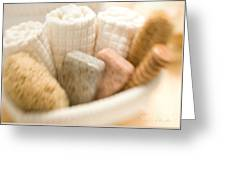 Spa Basket With Soaps Greeting Card