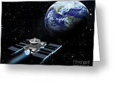Space Exploration, Earth, Illustration Greeting Card