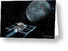 Space Exploration, Moon, Illustration Greeting Card