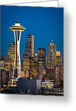 Space Needle Evening Greeting Card