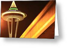 Space Needle Monorail  Greeting Card by Donald Torgerson