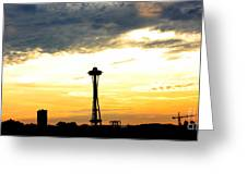 Space Needle Sunset Sillouette Greeting Card