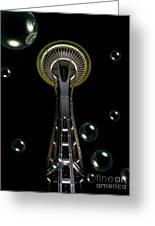Space Needle With Bubbles 1 Greeting Card