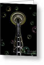 Space Needle With Bubbles 2 Greeting Card