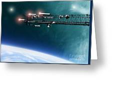 Space Station Communications Antenna Greeting Card by Antony McAulay
