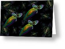 Space Trio Greeting Card by Ricky Kendall